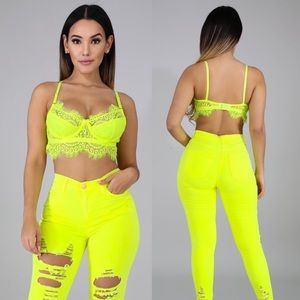Tops - Neon Lace Bustier